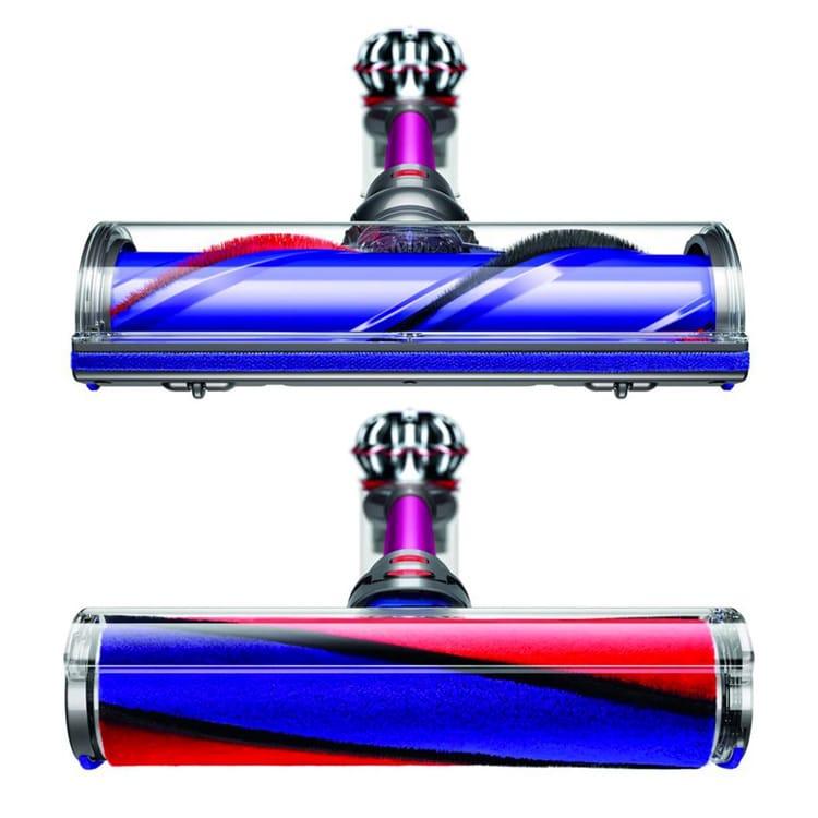 De twee gemotoriseerde borstels van de Dyson V8 Absolute Pro