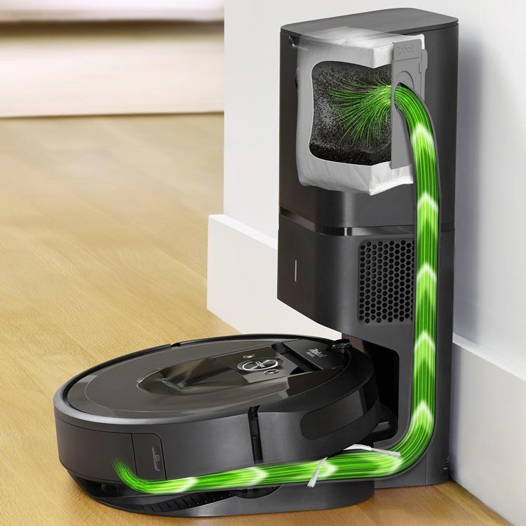 Roomba i7 oplaadstation fungeert ook als afvalbak voor het stofreservoir van de robotstofzuiger
