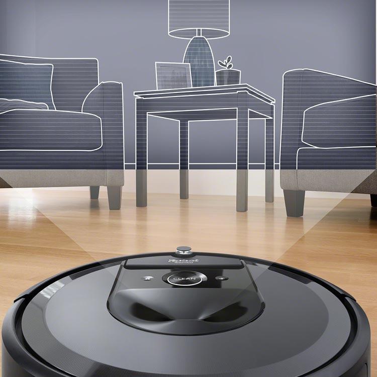 De Roomba i7+ scant de omgeving met behulp van een geavanceerde laser sensor